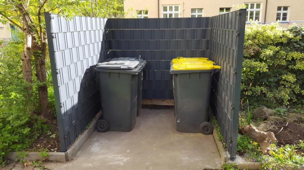 Einfassung Doppelstabmatten mit Sichtschutz